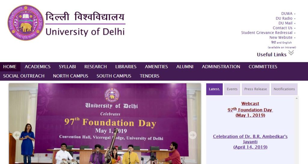 DU Admission 2019 - For UG, PG, Ph.D/ M.Phil Courses Delhi University