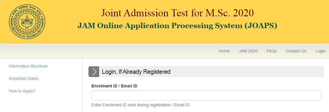 JAM 2020 Join Admission Test for M.SC Score Card download